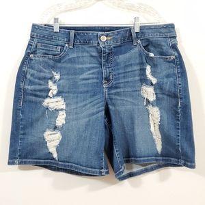 LANE BRYANT Plus Size Distressed Denim Shorts